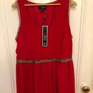 Hot red party dress with silver detailing